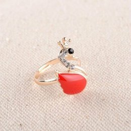 Wholesale Korea crystal swan opening flash diamond ring that female wedding gift Fashion Jewelry Design s