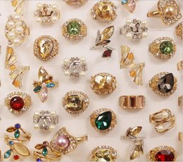 Wholesale 50pc set 2016 New Fashion Vintage Style Unique Design Rings Flower Rhinestone Rings For Women with Colorful Simulated Diamond