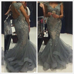 Wholesale Light Blue Green Quinceanera Dresses - Silver Evening Dresses 2016 With Cap Sleeves V Neck Sequins Beading Prom Dress Mermaid Ruffles Hollow Back Pageant Quinceanera Gowns