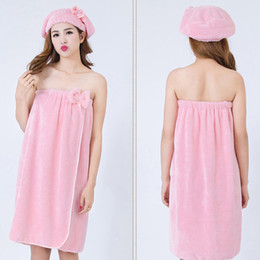 Wholesale New Fashion Bath Towel Cap Set Adult increase Big Thickness Wear Strapless Dry Bathroom Accessories Bathing Shower Cap Suit for Women Lady