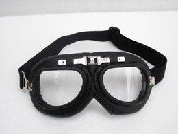 Cascos de carreras de la vendimia en Línea-G # 06 gafas de la motocicleta CE Vintage Matt Negro Marco UV claro transparentes lente gafas Steampunk casco de ciclismo Racing Ojo desgaste T-01