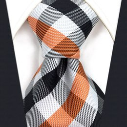 P1 Brand New Checked Orange Black White Men's Ties Extra Long Size Neckties 100% Silk Jacquard Woven Fashion