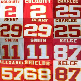 Wholesale Travis Kelce Jersey Will Shields Alex Smith DJ Alexander Dustin Colquitt Eric Berry Jamaal Charles American Football Jerseys Elite