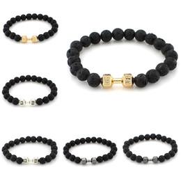 Promotion lien pour perles 12 Pcs / lot Hommes Femmes Noir Tone Perles Bracelet Lien Poignet Energie Stone Agate Lava Rock Perles Élastique [GE02310 * 12]