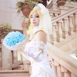 Eli Ayase Cosplay Love Live Wedding Dress School Idol Project White Satin Anime COS Costume Free Shipping