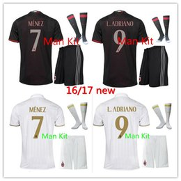 Wholesale 2016 AC MilanSoccer Jerseys Kit shorts socks shirts Sets ACM Bacca Montolivo Shaarawy Bonaventura Home Away Football Kits Socce