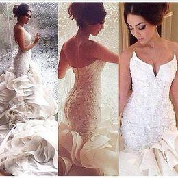 Wholesale 2017 Romantic Sexy Mermaid Wedding Dresses Lace Up Organza Chapel Train Lace Applique Bridal Gowns Custom Made Plus Size