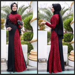 The Newest Design Black Red Long Arab Muslim Evening Dresses A Line Lace Beaded Long Sleeves Floor Length Women Party Gowns