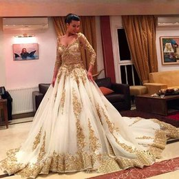 Saudi Arabic Wedding Dresses V-Neck Long Sleeve Gold Appliques embellished with Bling Sequins 2017 Sweep Train Amazing Party Dresses Formal
