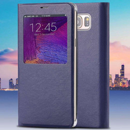 Wholesale Note Smart Wake Sleep Function Window Flip Auto Leather Case For Samsung Galaxy Note5 Plain Magnetic Close Protective Cover