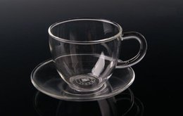 Wholesale New ml Transparent Drinkware Glass Tea Cup With Saucer For Home Kitchen Drinking Teacup