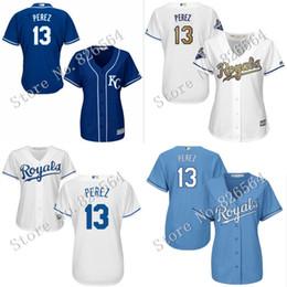 Dame ville à vendre-Les femmes de haute qualité authentiques kc Kansas City Royals # 13 Salvador Perez Cool base de baseball Maillot broderie dames tailles S-2XL