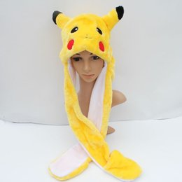 Wholesale Pikachu Cartoon Plush Animal Faux Fur Full Hood Kids Hat Women Children Costume Beanie with Long Scarf Mittens Gloves Earmuffs
