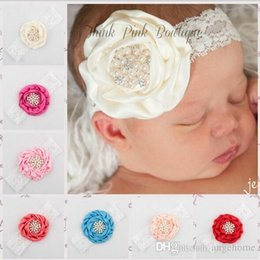 2015 new arrival Infant Flower Pearl Headbands Girl Lace Headwear Kids Baby Photography Props NewBorn Bow Hair Accessories Baby Hair bands