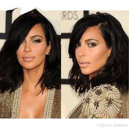 Kim Kardashian Style Bob Hair cut Human Brazilian Hair Lace Front Wig short wavy full lace human hair wig for black women