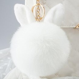 2018 Multicolor Faux Fox Fur Pompom Keychain Fluffy Rabbit Ear Ball Key Chain Keyring Bag Charms Pendant Bunny Accessories