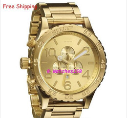 Free Shipping NX Men's A083-502 Quartz Watches THE 51-30 CHRONO ALL Gold Steel Band CHRONOGRAPH A083502