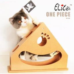 Cajas de madera relojes en Línea-Suministros para mascotas Gato juguetes Gatos de madera Ejercicio Reloj de juguete Actividad de péndulo Jugar Caja de muebles para gatito divertido