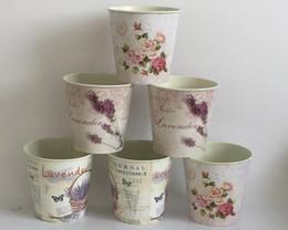 Wholesale D10 H10CM Lavender Basket Round garden supplies wedding bucket tin box Iron pots Flower pots Planter Wedding Decoration