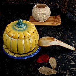 Wholesale Exquisite beautiful ceramic pumpkin slow cooker dessert nest bowl oven cover