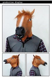 Wholesale Creepy Horse Mask Head Halloween Costume Theater Prop Novelty Latex Rubber suprise mask gift