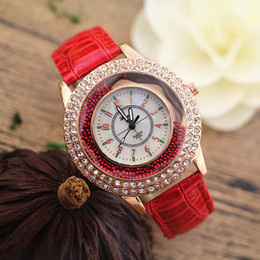 Wholesale Hot selling PVC leather band crystal deco case moving stone under glass Gerryda fashion woman lady quartz watches