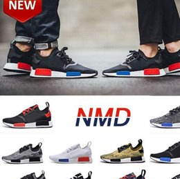 Wholesale New Arrive NMD Running shoes black red blue boost sneaker Discount chaussures de course sports sneakers shoe Women and Men size