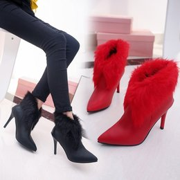 2017 women shoes fashion luxury Winter new simple fashion high heels female boots fine with pointed female bare boots zipper Martin boots