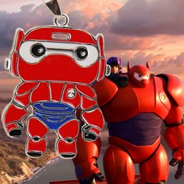 Wholesale 10pcs jewelry silver plated alloy cute Animation Cartoon Big Hero Red Baymax Robot Key Chain Key ring boy Hot y025
