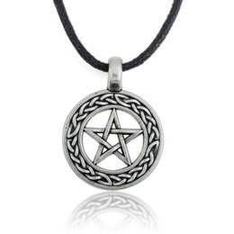 Retro Gothic Vintage Silver Pentacle Knotted Pendant Black Leather Necklace for Men & Boys