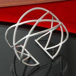 Factory direct wholesale 925 Sterling Silver Bangle Bracelet smooth fish net silver bracelet Jewelry Fashion