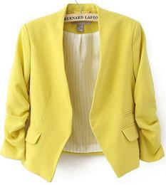 Blazer Feminino Jaqueta 2016 New Brand Fashion Women's Sleeve Pockets None Button Woman Slim Short Suit Jacket Plus Size S-XL Free Shipping
