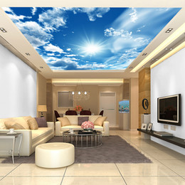 Wholesale Large blue sky and white clouds natural environment ceiling decoration suitable for non woven wallpaper living room bedroom hotel lobby room