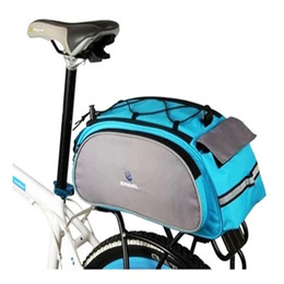 Wholesale New Black or blue Roswheel Cycling Bicycle Bike Pannier Rear Seat Bag L Rack Trunk Shoulder Handbag Multifunctional bag