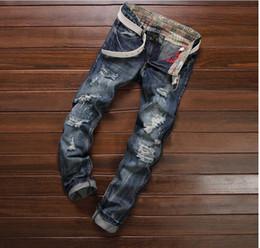European American Style 2016 fashion brand luxury cotton Men casual denim jeans trousers Straight blue slim hole jeans for men