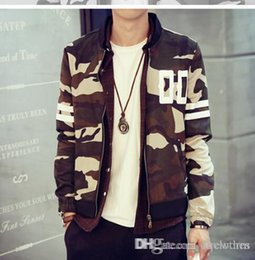 Coton ouaté korean veste de baseball en Ligne-Nouvelle Collection Men Camouflage Baseball Jacket hoodies minces automne Top qualité coréenne mince Camo Baseball Jacket Sueurs Casual