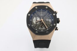 Wholesale - mens Brand Quartz chronograph Watch Men Black Dial Black Rubber Band Off-shore Rose gold Watches