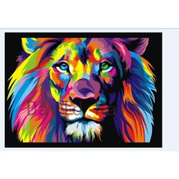 Wholesale picture painting ideas x50cm color lion printed Oil Paintings Decoration Modern Canvas Wall Pictures For Living Room