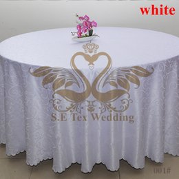 White Color Round Jacquard Damask Table Cloth For Wedding And Hotel