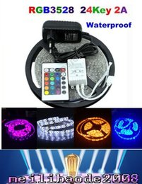 Wholesale 2016 Bandes LED M Set SMD led LED Light Strip Waterproof Keys IR Remote Controller Alimentation Adaptateur Blanc Rouge RGB Bande LED MYY