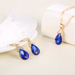 Wholesale The latest fashion style sapphire jewellery diamond jewelry earrings necklace sets allergy anti fatigue effect Care accessories manufacturer