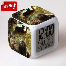 Wholesale The Jungle Book Alarm Clock Led Light Color Change Horse Desk Reloj Relogio De Mesa Table Square Digital Watch Thermometer