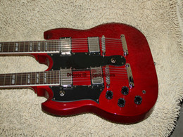 Custom 1275 Double neck left handed guitar Double neck Electric Guitar in red 6 12 strings Free Shipping A6789