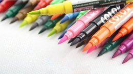 Wholesale Brush Double color cartoon pen Marker watercolors Sketch Hand painted pen Soft Super Brush Broad Twin Tip Manga Ciao ems gift