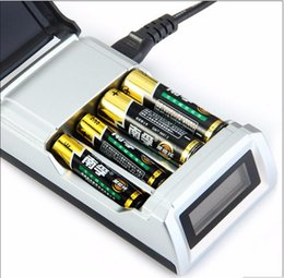 Wholesale Universal C905W Slots LCD Display Smart Intelligent li ion Battery Charger for AA AAA NiCd NiMh Rechargeable Batteries EU US Plug choice