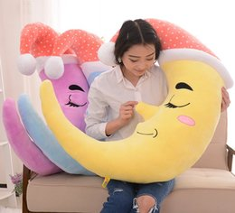 Wholesale Short velvet Glow In The Dark Pillows baby Moon Placate Stuffed Toys For Children sleep kids Room Decorative Cushion Pillow Moon Pillow