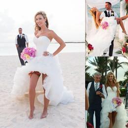 Acheter en ligne Robes blanches chérie volants de mariage-High Low Robe de mariée 2016 Beach White Sweetheart Tulle Ruffles Robes de mariée Sexy Vestido De Novia For Brides