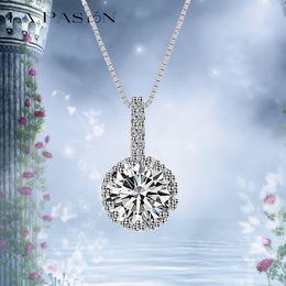 LA PASION BRAND Hearts & Arrows cut 1 ct CZ Diamond Necklaces Pendants Wedding Jewelry 18k White Gold Plated Necklace Women