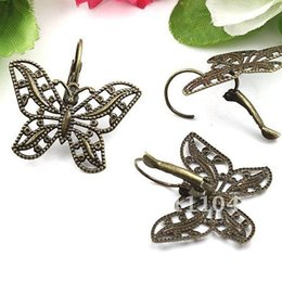 Wholesale 32x25mm Antique Bronze Copper Butterfly Blank Tray Bases French Style Clip Earrings Diy Cameo Cabs Jewelry Findings