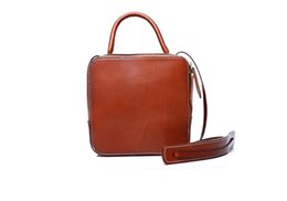 Woman Leather Flap Handbag Shoulder Bag Cross Body Bag Vintage Veg Tanned Leather Pure Cowhide First Ply Small Bag For Summer